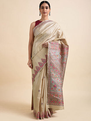Beige Madhubani Hand Painted Tussar Silk Saree