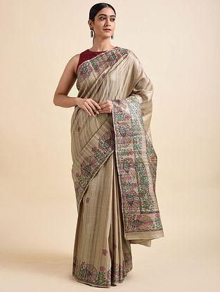Beige Madhubani Hand Painted Tussar Ghicha Silk Saree