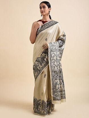 Beige-Black Madhubani Hand Painted Tussar Silk Saree