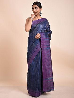 Blue-Purple Handwoven Tussar Ghicha Silk Saree