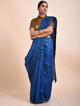 Blue Handwoven Tussar Ghicha Silk Saree