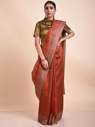 Orange Handwoven Tussar Ghicha Silk Saree