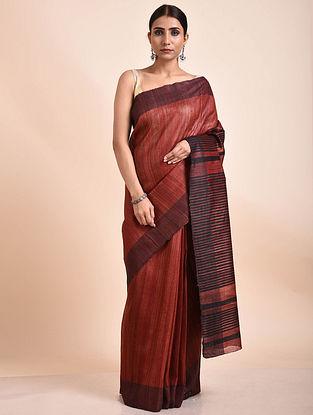Red Handwoven Tussar Ghicha Silk Saree
