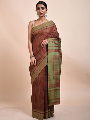 Red-Green Handwoven Tussar Ghicha Silk Saree