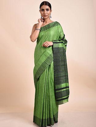 Green-Black Handwoven Tussar Ghicha Silk Saree