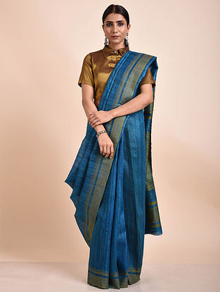 Blue Handwoven Tussar Ghicha Silk Saree