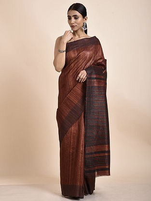 Brown-Black Handwoven Tussar Ghicha Silk Saree