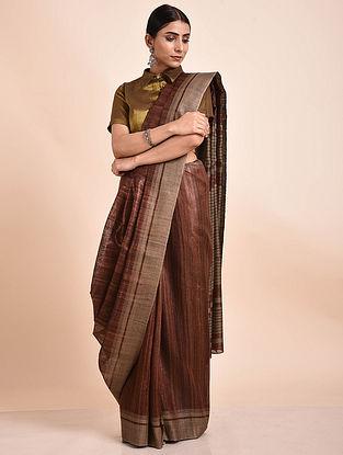 Brown Handwoven Tussar Ghicha Silk Saree