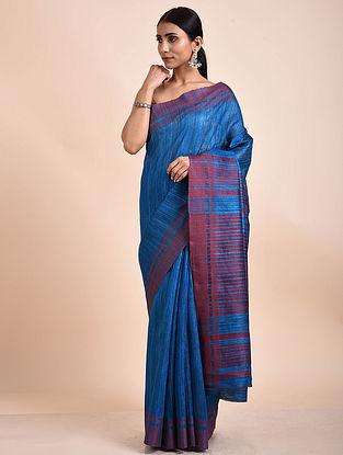 Blue-Maroon Handwoven Tussar Ghicha Silk Saree