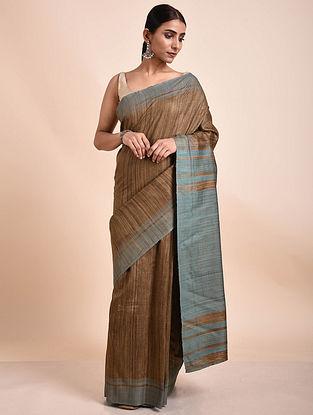 Brown-Grey Handwoven Tussar Ghicha Silk Saree