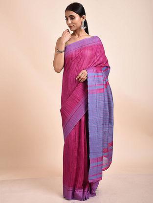 Pink-Purple Handwoven Tussar Ghicha Silk Saree