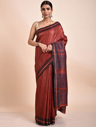 Red-Black Handwoven Tussar Ghicha Silk Saree