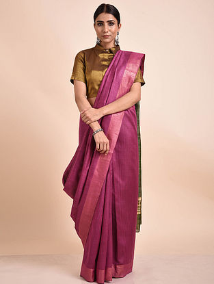 Pink Handwoven Tussar Ghicha Silk Saree