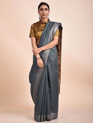Grey Handwoven Tussar Ghicha Silk Saree