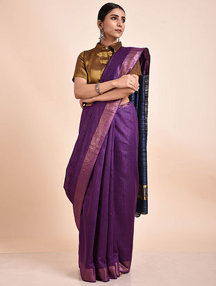 Purple Handwoven Tussar Ghicha Silk Saree
