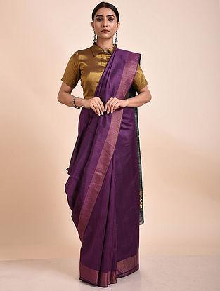 Purple Handwoven Tussar Ghicha Silk Saree