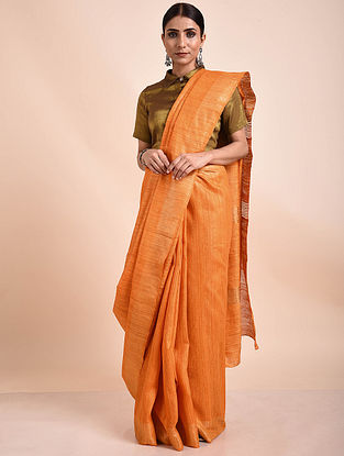 Orange Handwoven Tussar Ghicha Silk Saree