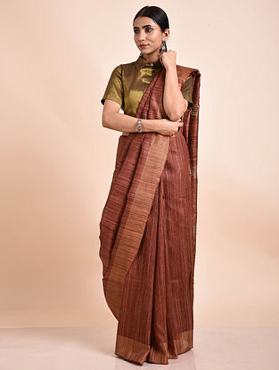 Brown Handwoven Tussar Ghicha Silk Saree