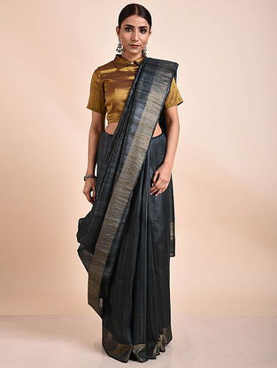 Grey Handwoven Tussar Ghicha Silk Saree