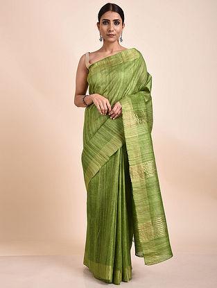 Green Handwoven Tussar Ghicha Silk Saree