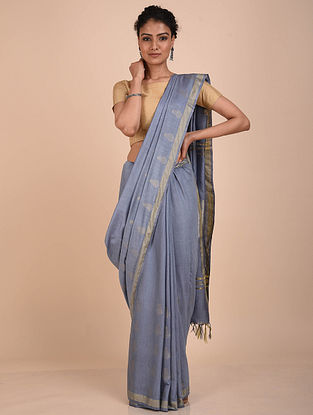 Steel Blue Handwoven Kota Silk Saree