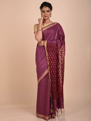 Purple Handwoven Kota Silk Saree