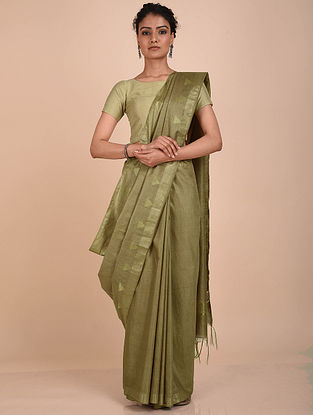 Olive Green Handwoven Kota Silk Saree