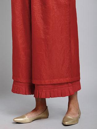 Red Handwoven Organic Dyed Handloom Cotton Nilofar Culottes