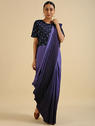 Lavender Handwoven Hand Embroidered Cotton Mul Saree