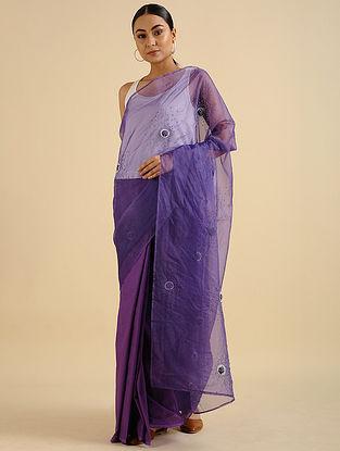 Lavender Handwoven Hand Embroidered Cotton Mul Saree