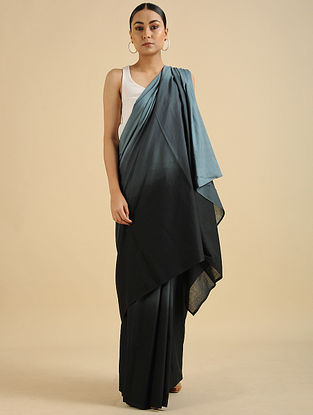 Black-Grey Handwoven Cotton Mul Saree
