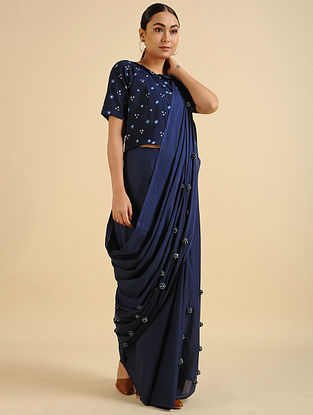Blue Handwoven Hand Embroidered Cotton Mul Saree