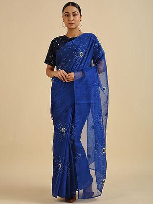 Blue Handwoven Hand Embroidered Silk Organza Saree