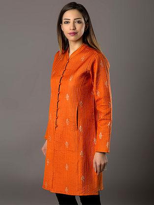 Orange Khari-Printed Quilted Silk Jacket