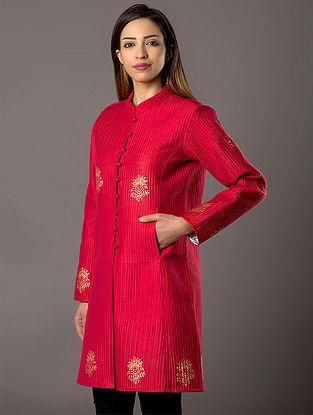 Pink Khari-Printed Quilted Cotton-Silk Jacket