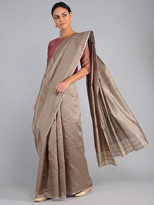 Beige Handwoven Silk Saree with Jamdani Pallu