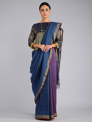 Blue-Purple Handwoven Jamdani Cotton Saree