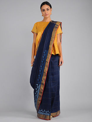 Blue Handwoven Linen Saree with Jamdani Pallu