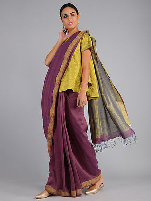 Purple Handwoven Cotton Saree with Matka Silk Pallu
