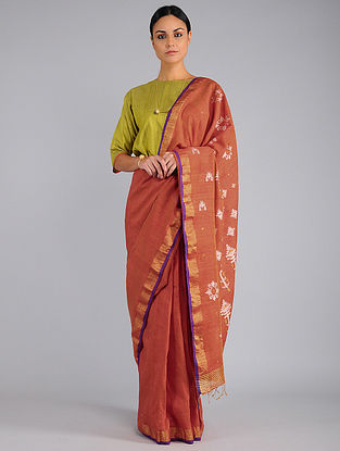 Red Handwoven Matka Silk Saree with Jamdani Pallu