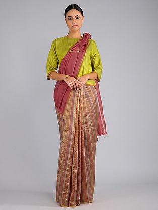 Pink Handwoven Silk Saree with Jamdani Pallu