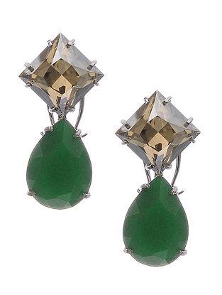 Yellow-Green Crystal Silver Earrings