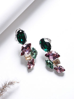 Pink-Green Crystal Silver Earrings
