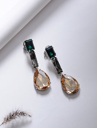 Green-Orange Crystal Silver Earrings