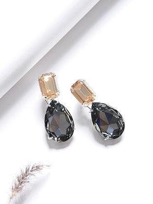 Orange-Black Crystal Silver Earrings