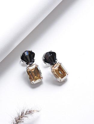 Yellow-Black Crystal Silver Earrings
