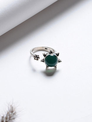 Onyx Adjustable Silver Ring