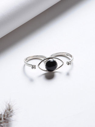 Black Onyx Adjustable Silver Ring