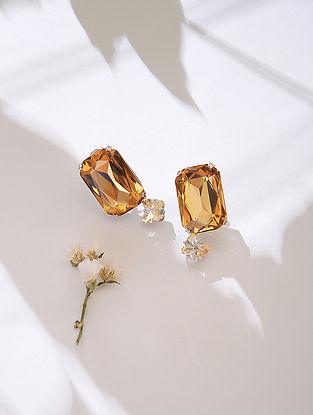 Orange-Yellow Crystal Silver Earrings
