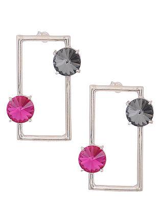 Pink-Grey Crystal Silver Earrings